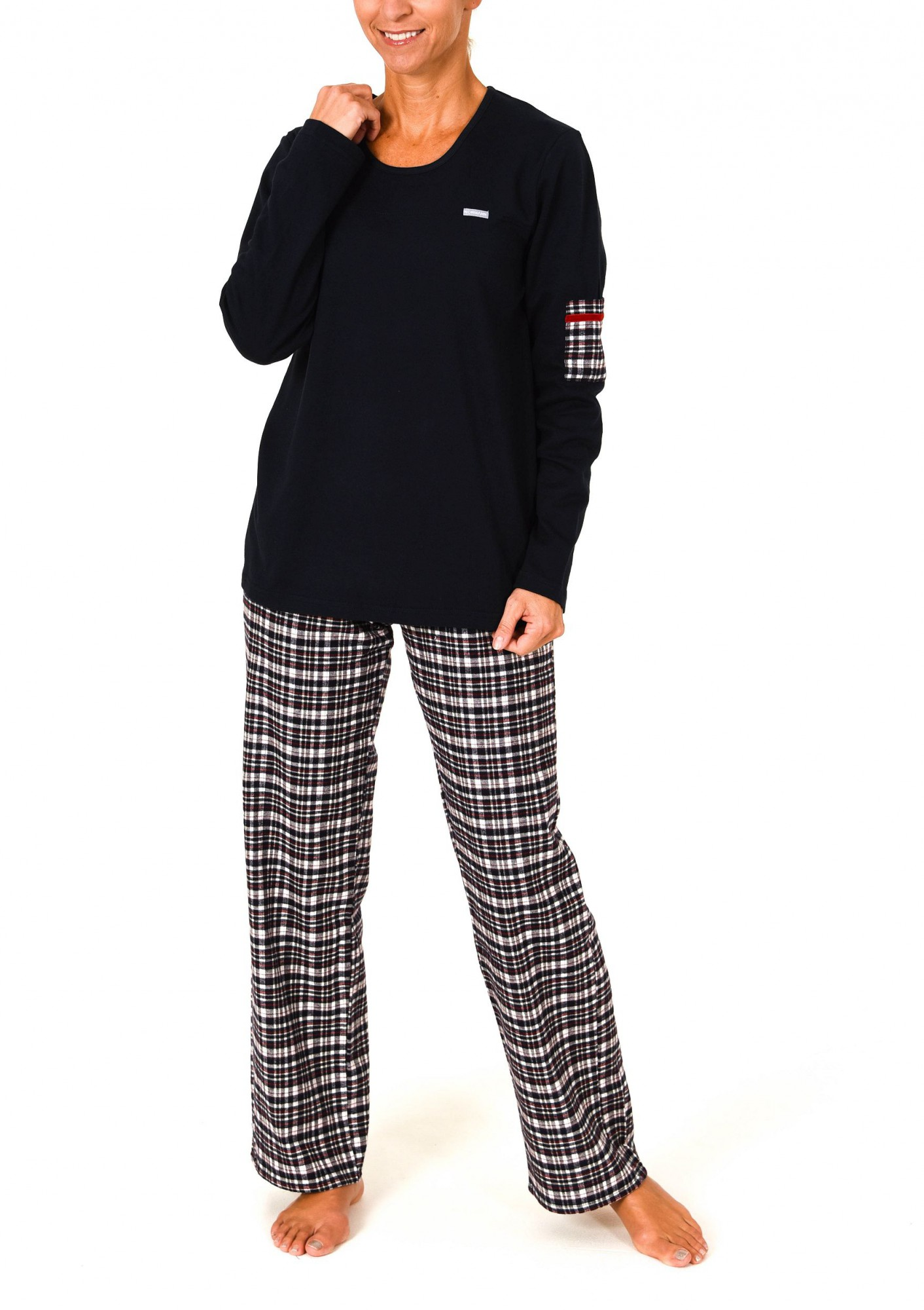 damen flanell pyjama mix match hose flanell oberteil interlock auch in bergr ssen. Black Bedroom Furniture Sets. Home Design Ideas