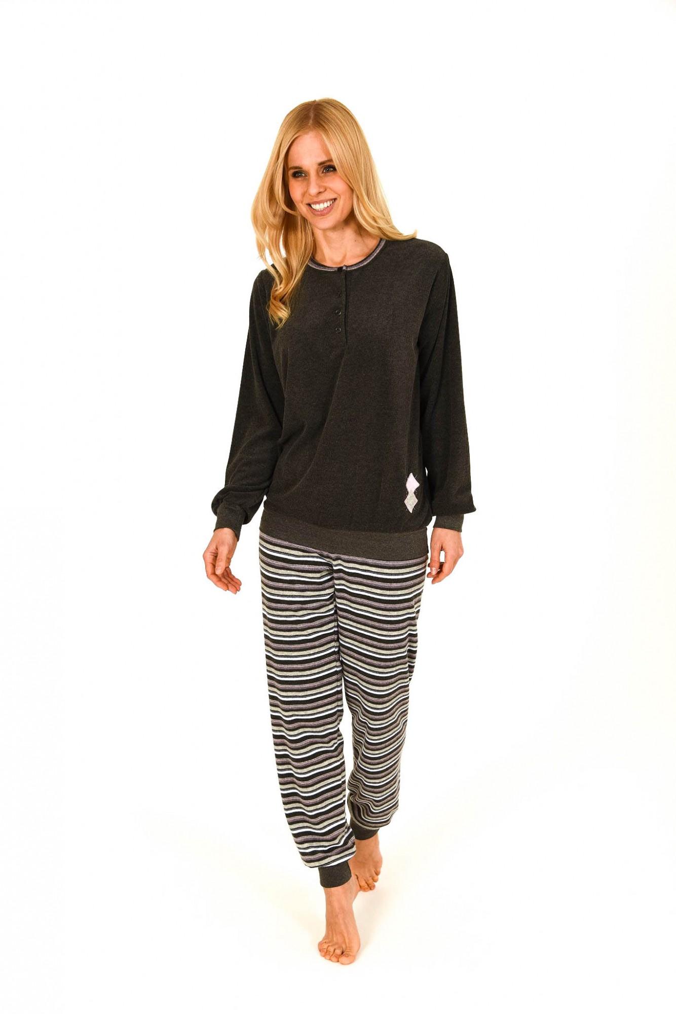 damen frottee pyjama lang mit b ndchen hose gestreift auch in bergr ssen 201 93 236. Black Bedroom Furniture Sets. Home Design Ideas