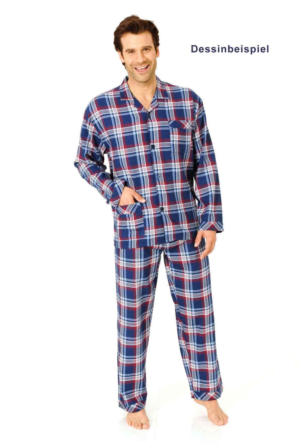 herren flanell pyjama zum durchkn pfen in bergr ssen 2erpack bis gr sse 66. Black Bedroom Furniture Sets. Home Design Ideas