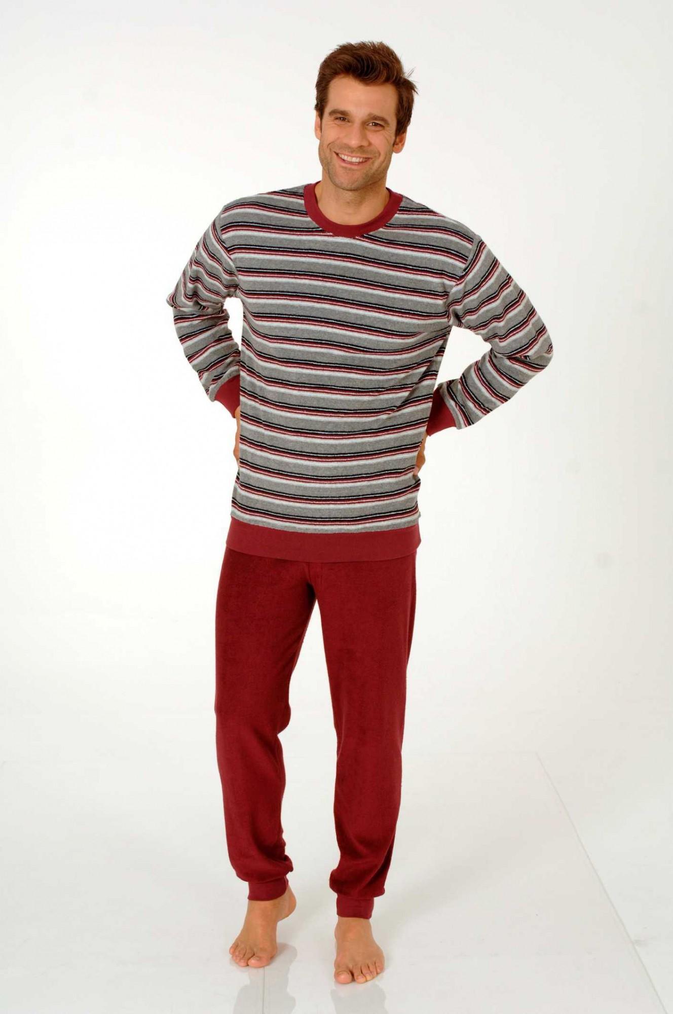 herren frottee pyjama mit b ndchen rundhals 50308. Black Bedroom Furniture Sets. Home Design Ideas