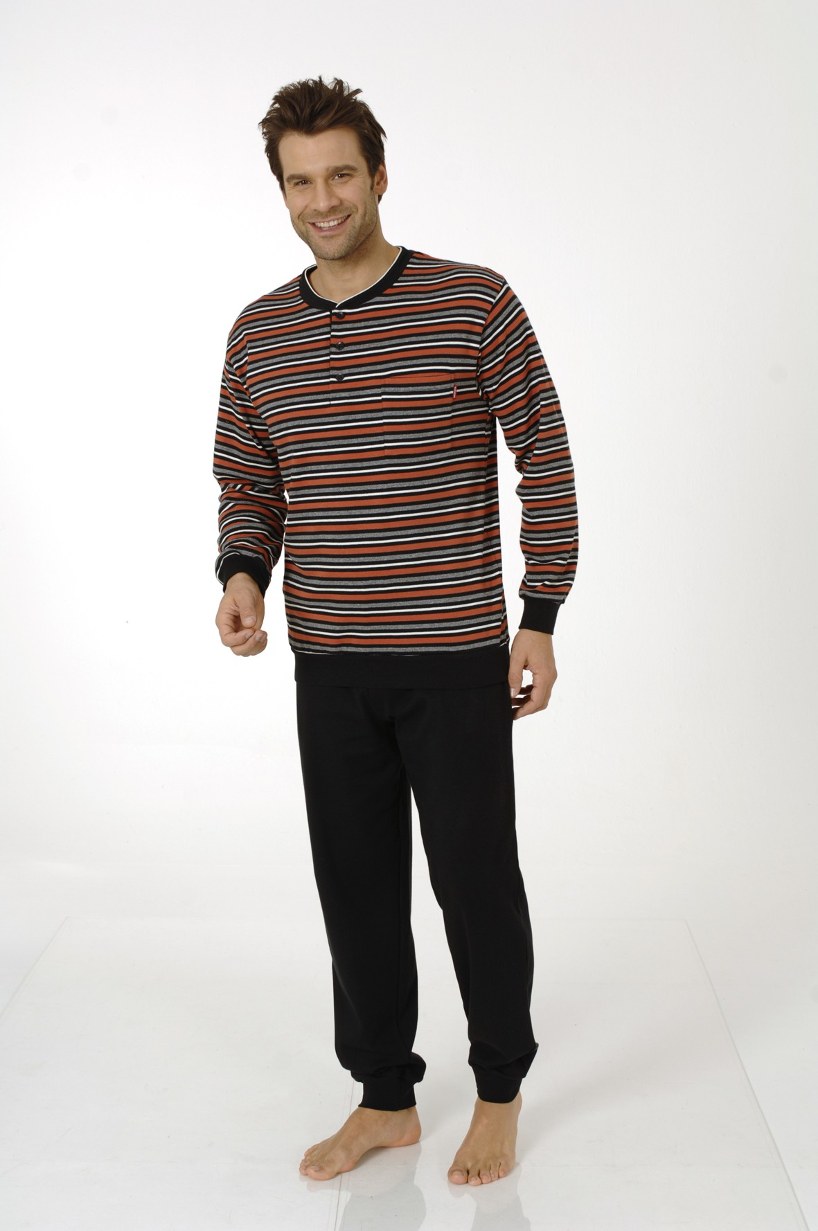 herren pyjama lang interlock schlafanzug winter 101 96 770. Black Bedroom Furniture Sets. Home Design Ideas