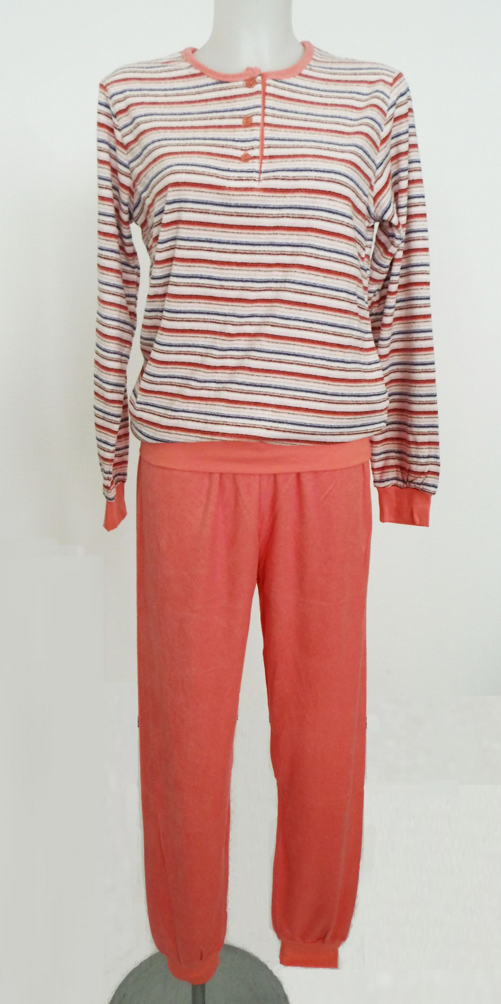 damen frottee pyjama lang mit b ndchen schlafanzug 201 93 856. Black Bedroom Furniture Sets. Home Design Ideas