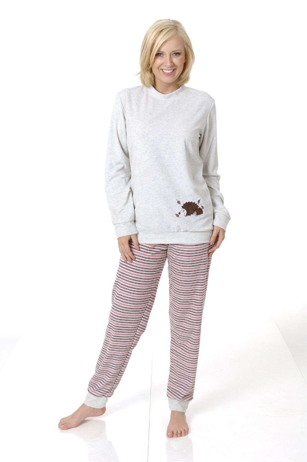 normann damen frottee pyjama schlafanzug mit b ndchen 422920. Black Bedroom Furniture Sets. Home Design Ideas